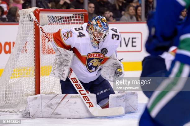 Florida Panthers Goalie James Reimer makes a save during their NHL game against the Vancouver Canucks at Rogers Arena on February 14 2018 in...