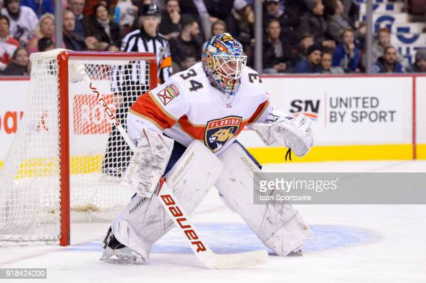 Florida Panthers Goalie James Reimer tracks the play during their NHL game against the Vancouver Canucks at Rogers Arena on February 14 2018 in...