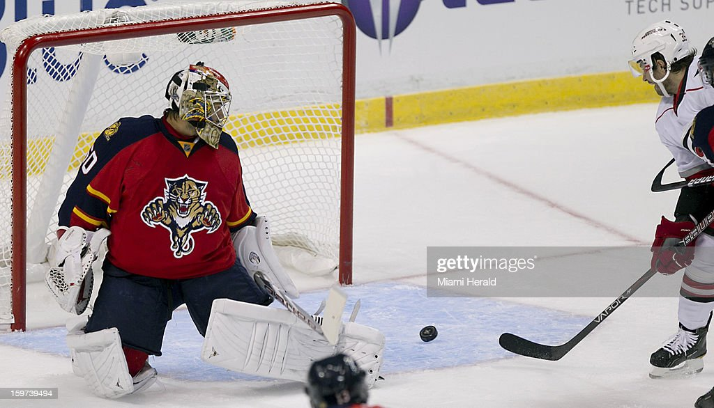 Florida Panthers goalie Jose Theodore can't stop a goal by the Carolina Hurricanes' Patrick Dwyer in the second period at the BB&T Center in Sunrise, Florida, Saturday, January 19, 2013.