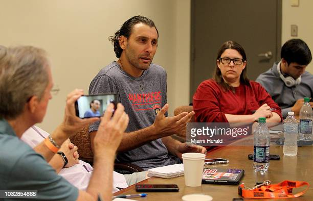 Florida Panthers goalie Roberto Luongo answers questions from the media during the Panthers' media day on Thursday Sept 13 2018 at the BBT center in...