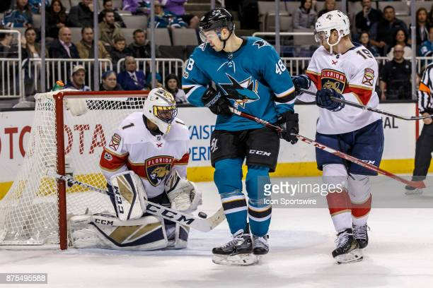 Florida Panthers goalie Roberto Luongo makes a body save during the third period of the regular season game between the San Jose Sharks and the...