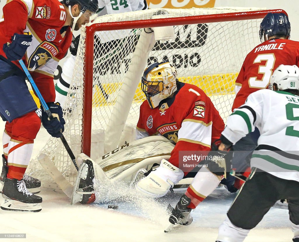 Florida Panthers Goalie Roberto Luongo Protects The Goal In The