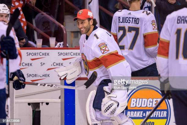 Florida Panthers Goalie Roberto Luongo smiles as he leaves the ice during after their NHL game against the Vancouver Canucks at Rogers Arena on...