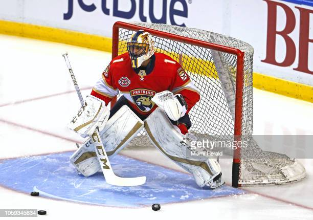 Florida Panthers goalie Roberto Luongo warms up before the start of action against the Edmonton Oilers at the BBT Center in Sunrise Fla on Thursday...