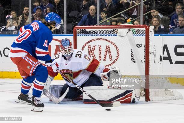 Florida Panthers Goalie Samuel Montembeault stops a shot by New York Rangers Left Wing Artemi Panarin in overtime during an Eastern Conference...