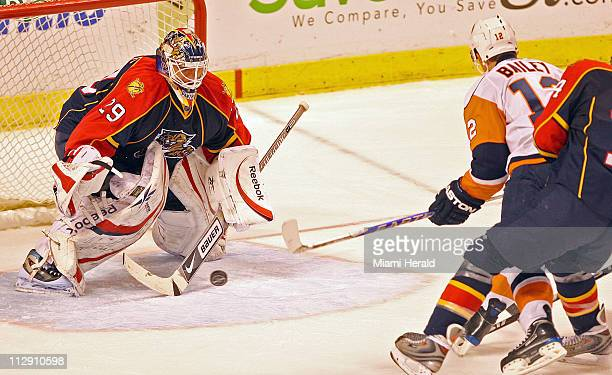 Florida Panthers goalie Tomas Vokoun stops a shot by New York Islanders' Josh Bailey in the second period at Bank Atlantic Center in Sunrise Florida...
