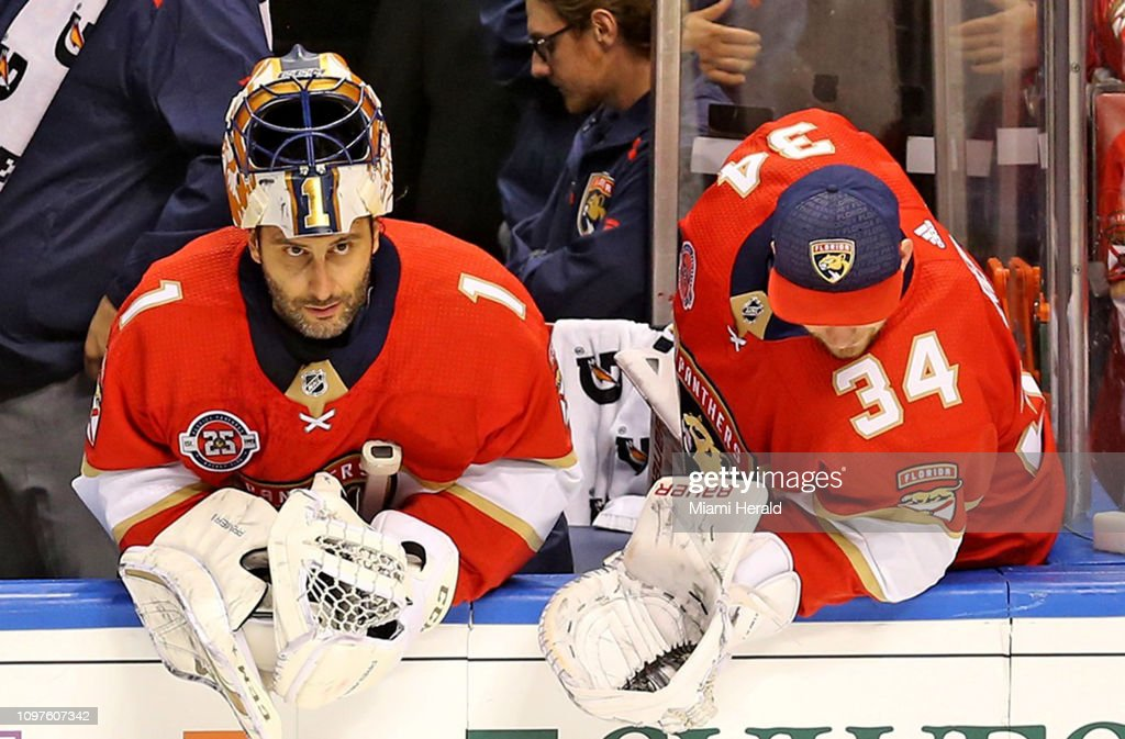 Florida Panthers Goalies Roberto Luongo And James Reimer Watch From