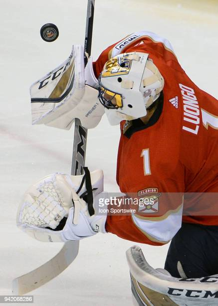 Florida Panthers goaltender Roberto Luongo blocks the puck during a game between the Florida Panthers and the Nashville Predators on April 03 2018 at...