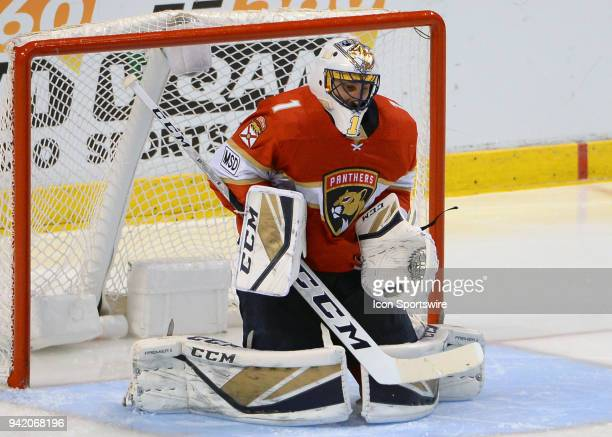 Florida Panthers goaltender Roberto Luongo blocks the puck during the second period in a game between the Florida Panthers and the Nashville...