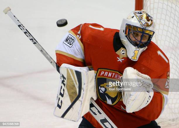 Florida Panthers goaltender Roberto Luongo deflects the puck during a game between the Florida Panthers and the Nashville Predators on April 03 2018...