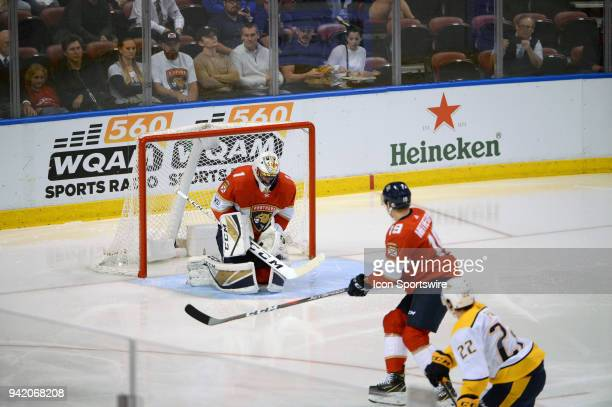 Florida Panthers goaltender Roberto Luongo stops the puck for another save during the second period in a game between the Florida Panthers and the...