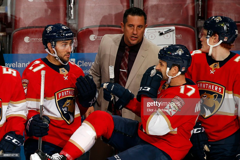Florida Panthers Head Coach Bob Boughner directs his team from the bench during a break in the action against the Tampa Bay Lightning at the BB&T Center on October 30, 2017 in Sunrise, Florida.