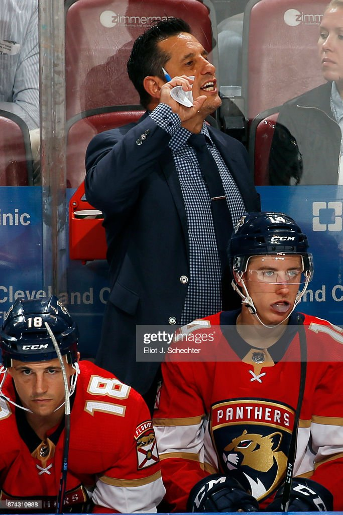 Florida Panthers Head Coach Bob Boughner directs his team from the bench during a break in the action against the Dallas Stars at the BB&T Center on November 14, 2017 in Sunrise, Florida.