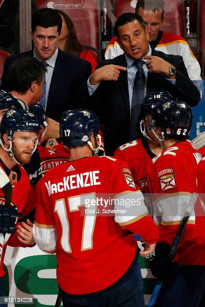 Florida Panthers Head Coach Bob Boughner directs his team from the bench along with Assistant Paul McFarland against the Vancouver Canucks at the BBT...