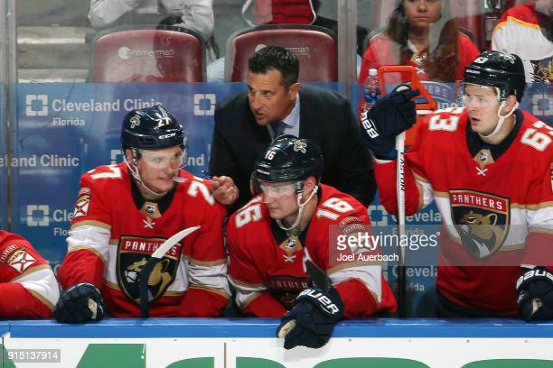 Florida Panthers head coach Bob Boughner of the Florida Panthers directs his players during thirdperiod action against the Vancouver Canucks at the...