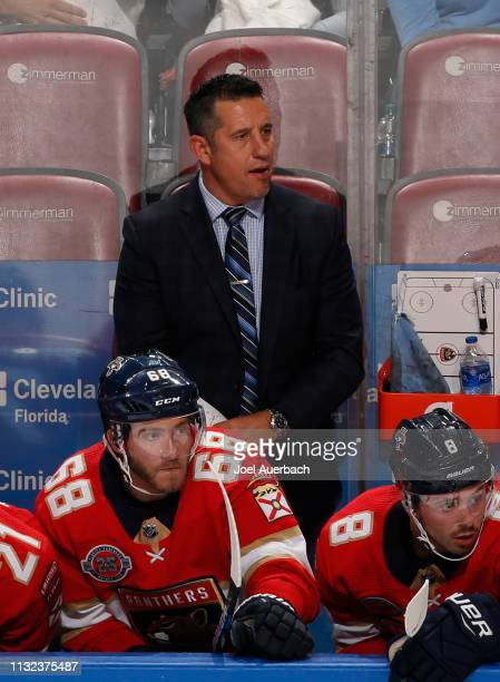Florida Panthers Head coach Bob Boughner of the Florida Panthers looks on during third period action against the Boston Bruins at the BBT Center on...