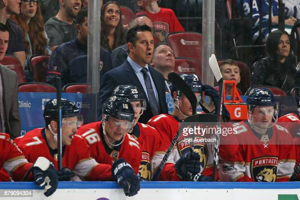 Florida Panthers Head coach Bob Boughner of the Florida Panthers looks on during a penalty kill against the Toronto Maple Leafs at the BBT Center on...