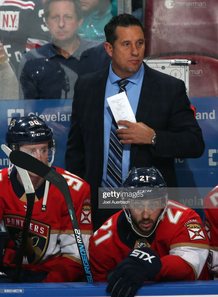 Florida Panthers Head coach Bob Boughner of the Florida Panthers looks on during third period action against the New York Rangers at the BB&T Center on March 10, 2018 in Sunrise, Florida. The Panthers defeated the Rangers 4-3 in a shootout.