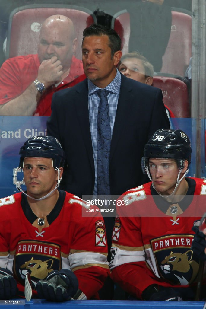 Florida Panthers Head coach Bob Boughner of the Florida Panthers looks on during third period action against the Boston Bruins at the BB&T Center on April 5, 2018 in Sunrise, Florida. The Panthers defeated the Bruins 3-2.