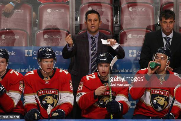 Florida Panthers Head coach Bob Boughner of the Florida Panthers reacts during third period action against the Detroit Red Wings at the BBT Center on...