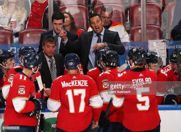 Florida Panthers Head coach Bob Boughner of the Florida Panthers directs the players during a break in action against Vancouver Canucks at the BBT...