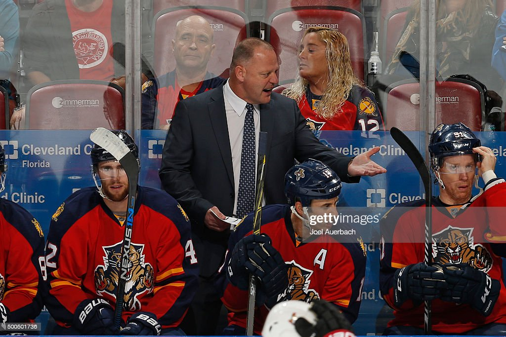 Florida Panthers head coach Gerald Gallant of the Florida Panthers react after the Ottawa Senators scored a third period goal at the BB&T Center on December 8, 2015 in Sunrise, Florida. The Senators defeated the Panthers 4-2.