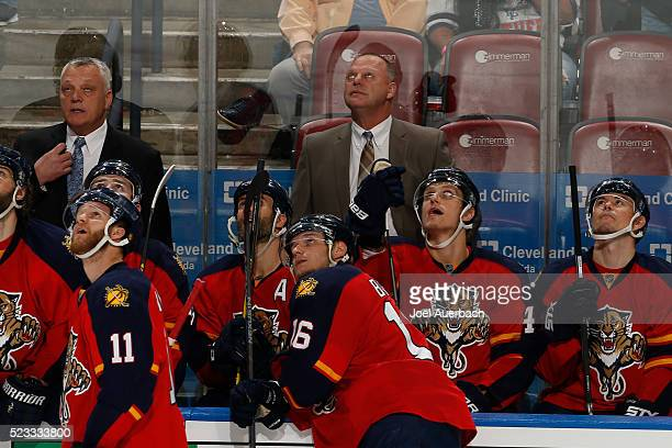 Florida Panthers head coach Gerald Gallant watches a replay of the goal by Aleksander Barkov of the Florida Panthers during a challenge to the call...