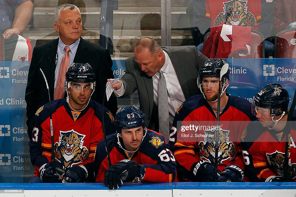 Florida Panthers Head Coach Gerard Gallant directs Brandon Pirri #73 against the Washington Capitals at the BB&T Center on December 10, 2015 in Sunrise, Florida.