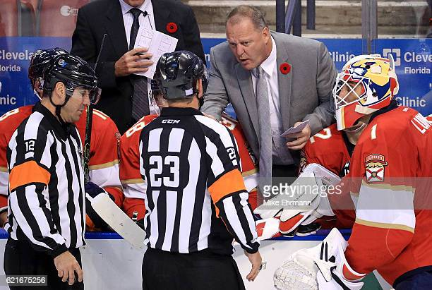 Florida Panthers head coach Gerard Gallant talks with officials during a game against the Tampa Bay Lightning at BBT Center on November 7 2016 in...