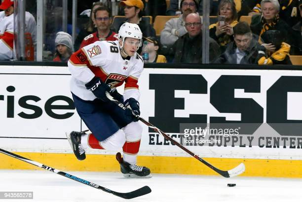 Florida Panthers left wing Maxim Mamin breaks down the wing during a game between the Boston Bruins and the Florida Panthers on April 8 at TD Garden...