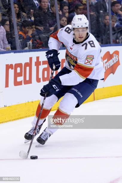 Florida Panthers Left Wing Maxim Mamin skates with the puck during the NHL regular season game between the Florida Panthers and the Toronto Maple...