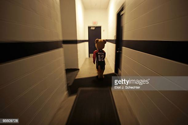 Florida Panthers mascot Mini Stan walks through the hall way in the locker room while the play the New York Rangers at the BankAtlantic Center on...