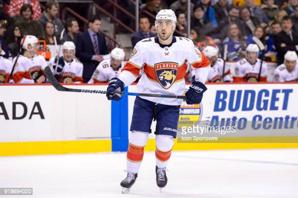 Florida Panthers Right Wing Colton Sceviour skates up ice during their NHL game against the Florida Panthers at Rogers Arena on February 14 2018 in...