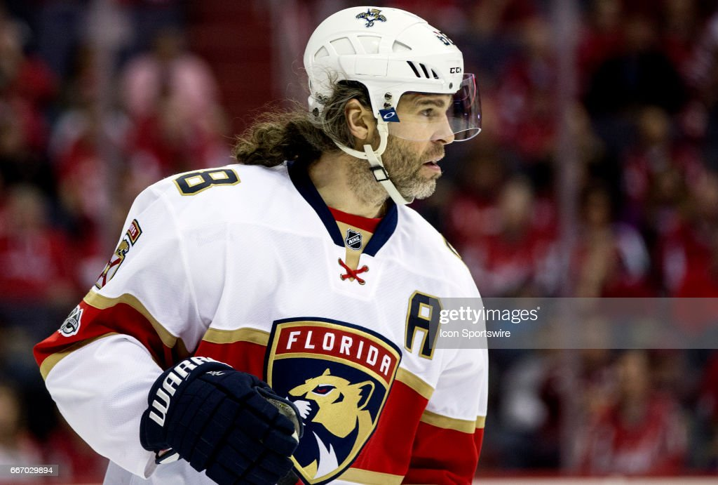 Florida Panthers right wing Jaromir Jagr (68) during a NHL game between the Washington Capitals and the Florida Panthers on April 09, 2017, at the Verizon Center, in Washington, DC. The Florida Panthers defeated the Washington Capitals 2-0.