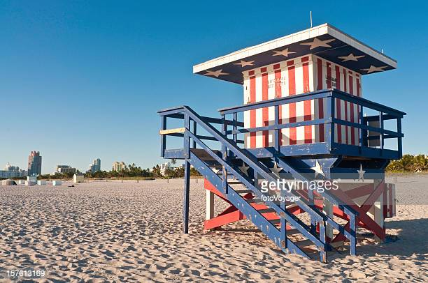 Florida patriotic Stars and Stripes lifeguard hut Miami Beach USA