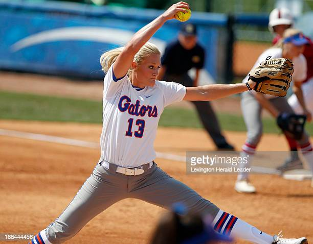 Florida pitcher Hannah Rogers winds up a throw in the top of the 2nd inning against Alabama in the SEC Softball tournament at John Cropp Stadium in...