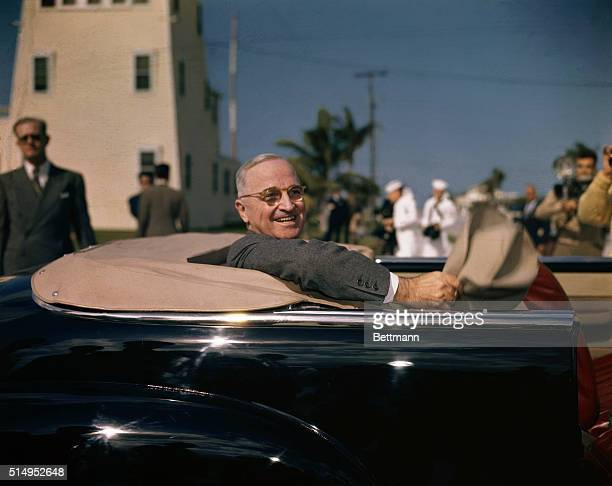 President Truman chats before leaving for Key West after dedicating Everglades National Park Dec 11 1947