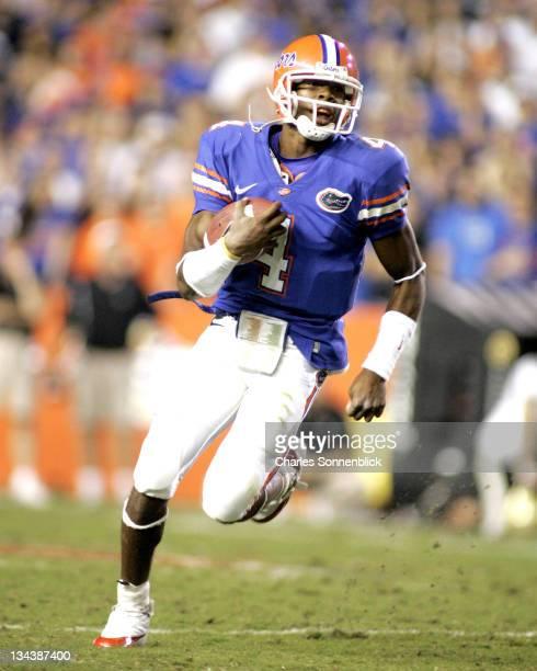 Florida quarterback Josh Portis runs for a large gain against Vanderbilt on November 5 2005 at Ben Hill Griffin Stadium in Gainesville Florida