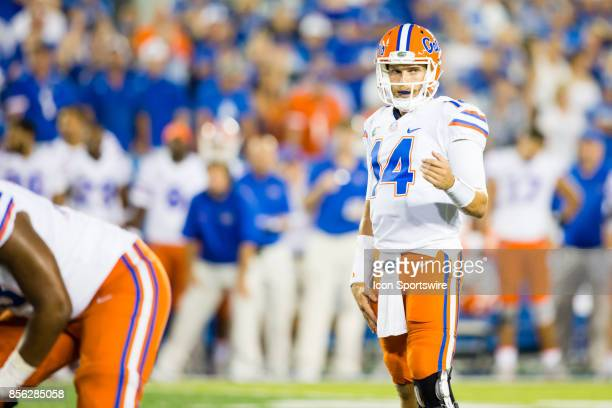 Florida quarterback Luke Del Rio motioning to his offense during a regular season college football game between the Florida Gators and the Kentucky...