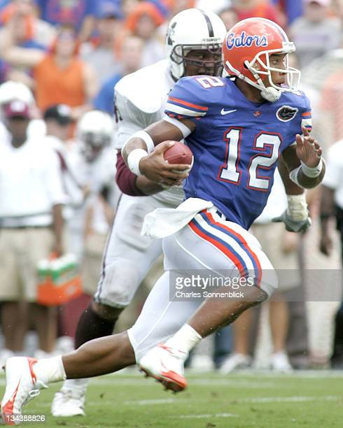 Florida quarterback runs up field for a large gain against Mississippi State on October 8, 2005 at Ben Hill Griffin Stadium in Gainesville, Florida