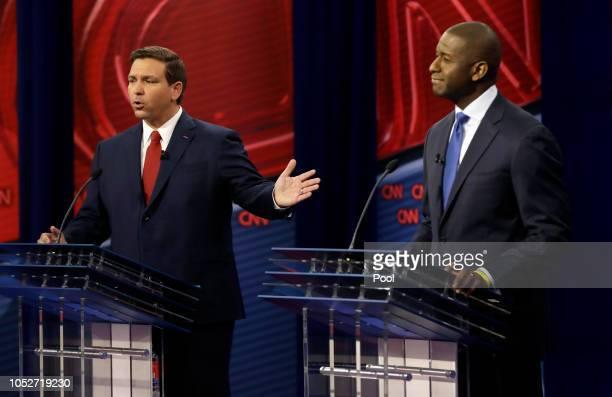 Florida Republican gubernatorial candidate Ron DeSantis left speaks about his Democratic opponent Andrew Gillum during a CNN debate Sunday Oct 21 in...