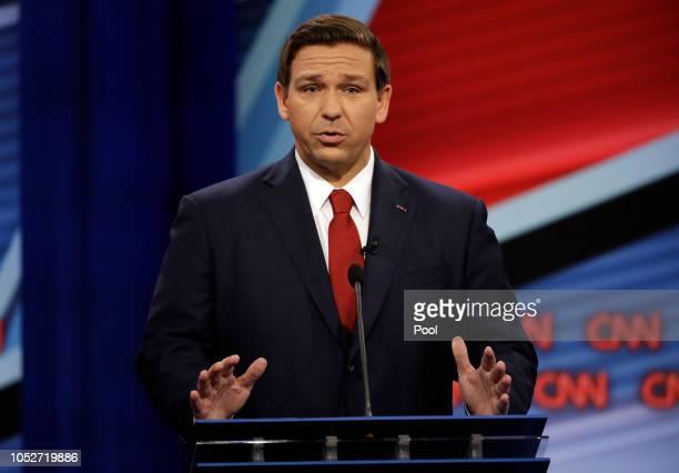 Florida Republican gubernatorial candidate Ron DeSantis speaks during a CNN debate against opponent Democratic gubernatorial candidate Andrew Gillum...