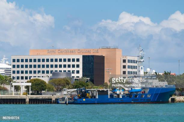 'Florida Responder' ship in the Biscayne Bay The Royal Caribbean Cruises Ltd headquarters building in the background