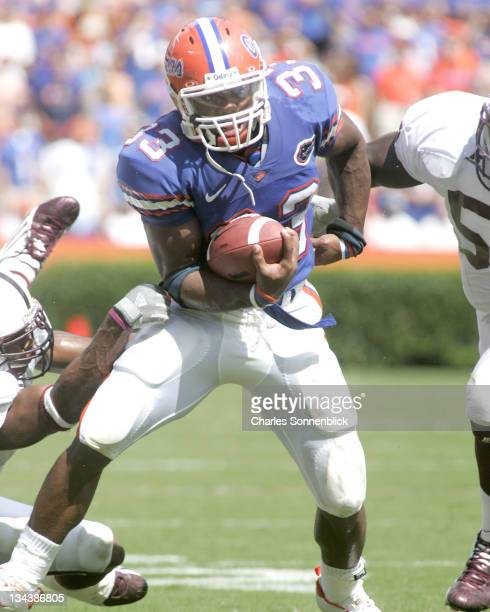 Florida running back Kestahn Moore runs for a gain against Mississippi State on October 8, 2005 at Ben Hill Griffin Stadium in Gainesville, Florida