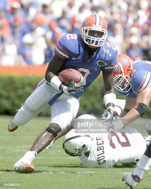 Florida running back Markus Manson runs up field for a large gain against Mississippi State on October 8, 2005 at Ben Hill Grififin Stadium in...