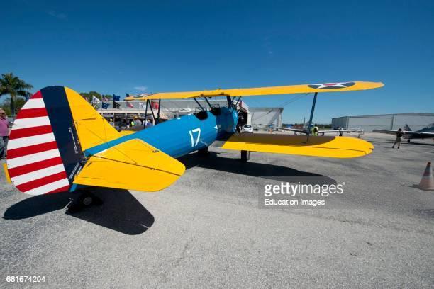 Florida Sarasota CAF Air Power History Tour Boeing Stearman PT13D Kaydet Biplane