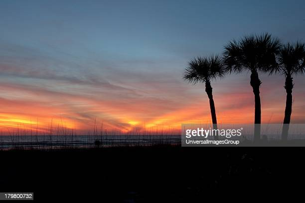 Florida, Sarasota, Colorful Sunset on the Crescent Beach, Siesta Key.