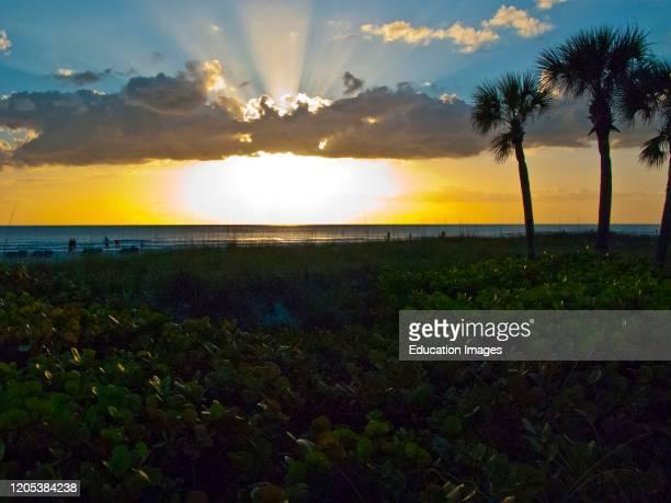 Florida, Sarasota, Evening on Crescent Beach Siesta Key.