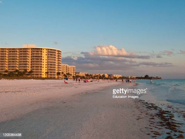 Florida, Sarasota, Evening on Crescent Beach Siesta Key.