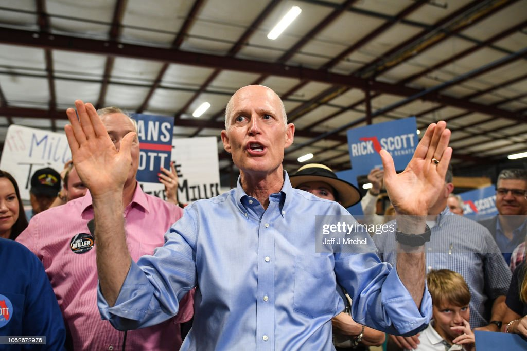 Florida Senate Candidate Rick Scott Attends Get Out Rally In Orlando : News Photo